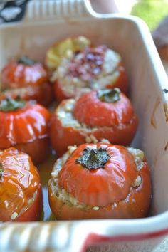 Cucina di Barbara: food blog: Ricetta melanzane rosse di Rotonda ripiena con sgombro e pomodorini secchi