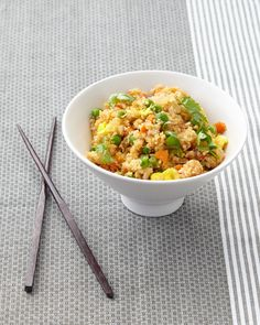 Shredded cauliflower steps in to make a crave-worthy low-carb version of fried rice. To make paleo fried rice, just sub the soy sauce with coconut aminos and nix the peas.