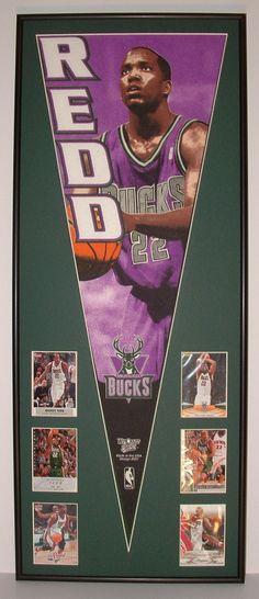 NBA Basketball Milwaukee Bucks Michael Redd Pennant   Cards...Custom  Framed!!! 45ed0b835