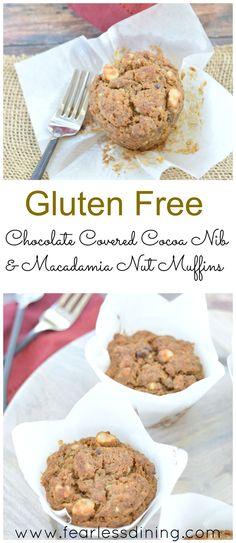Gluten Free, Egg Free Cocoa Nib and Macadamia Nut Muffins. How to make gluten free muffins.