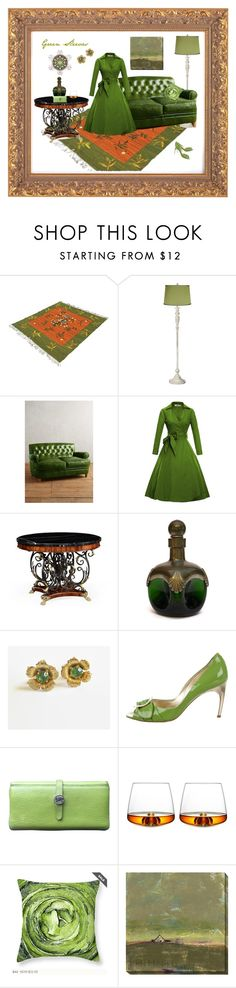 """""""Green Sleeves"""" by anna-ragland ❤ liked on Polyvore featuring Universal Lighting and Decor, Anthropologie, Jonathan Charles Fine Furniture, Roger Vivier, Hermès, Normann Copenhagen and Home Decorators Collection"""