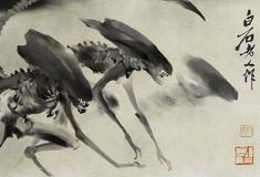 Sumi-e painting by artist Ike Taiga depicts the alien invasion of Japan in 1764.