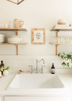 Get The Look; My Kitchen - Harlowe James Kitchen Shop, Kitchen Design, Loft Kitchen, White Kitchen Sink, Cheap Countertops, Ikea Billy, Wood Stool, Kitchen Photos, Kitchen Ideas