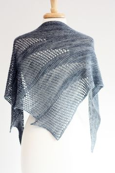 Inspired by subterranean waterways, Artesian by Romi Hill is a triangular shawl with asymmetrical sections of lace spilling over the shawls edge. #kitterlykits