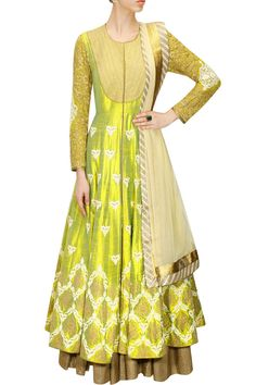 Lemon yellow dori embroidered anarkali gown with beige dupatta available only at Pernia's Pop-Up Shop.