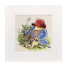 Paddington Reading in the Garden by Peggy Fortnum (Mounted Print)