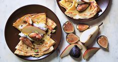 "Cornmeal crepes w/ figs and pears from @Bon Appetit Magazine's ""22 Brunch Recipes for a Lovely, Lazy Morning"" - yields 4 servings; 4g fiber, 7g protein, 450 calories. Ingredients: 1 lrg egg, 1/2 c milk, 1/4 c all-purpose flour, 1/4 c cornmeal, 2 tbsp sugar, 1/2 tsp vanilla extract, 1/8 tsp kosher salt, 1 1/4 c heavy cream, unsalted butter (for skillet), 1 ripe pear - cored; thinly sliced, 2 tbsp unsalted raw pistachios, and honey (for drizzling)."