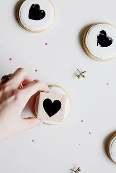 edible heart-stamped cookies
