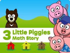 Intro to basic adding and removing math concepts using the story of the 3 Little Pigs. Includes pictures at the end to print out for story retell. Learning English For Kids, Kids Learning, Story Retell, Early Math, Three Little Pigs, Math Concepts, Animated Cartoons, Addition And Subtraction, Educational Games