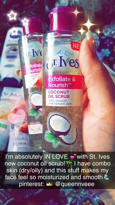 St. Ives Coconut Oil Scrub | I love this stuff! I have combo skin (dry/oily) and sometimes it's hard to find a balance between my facial cleansers and lotions. I love this stuff because my skin didn't get dry felt smooth and moisturized and I didn't need as much facial lotion afterwards. Plus it smells aaaaamazing! ($6.99 at Walmart) | I alternate between this scrub and St. Ives Oatmeal Cleanser @qqueennvee #skincare #cleanser #affordable #coconutoil #scrub #stives #exfoliate #facial