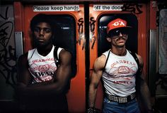 Guardian Angels patrolling the NYC Subways to combat crime, circa 1982. ~ by Bruce Davidson