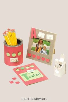 As challenging as it can be to teach room full of kids, those students are the collective apple of any teacher's eye. Even sending a few words of gratitude makes a lasting impression. Use an apple craft punch to design a handmade card and have the student include a sincere note of thanks. #marthastewart #diydecor #diyprojects #diyideas #handmadegiftideas