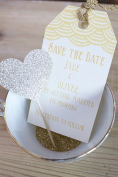 Scallop 1920's insprired gold save the date. www.paperwedding.co.uk Photographs by Michelle Huggleston Photography.