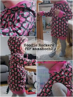 "Hood extension for Autumn Rockers – ""Hoodie Rockers"" - DIY Clothes Tutorial Ideen Kids Clothes Patterns, Sewing Kids Clothes, Kids Patterns, Sewing Patterns Free, Free Sewing, Sewing Tutorials, Clothing Patterns, Pattern Sewing, Free Pattern"