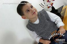 Colete de Crochê Infantil Menino 1, Lucca, Look, Knit Vest, Green Vest, Infant Girls, Toddler Dress Up Clothes, Crochet Mandala, Crochet Boys