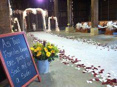 Rustic wedding backdrop.