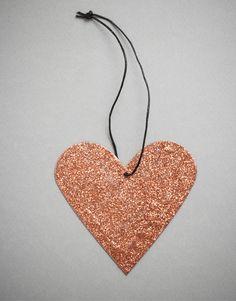 Kobber Hjerte Glitter