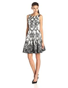 Taylor Dresses Women's Baroque Pattern Shantung Fit and Flare Dress, Cream/Black, 2