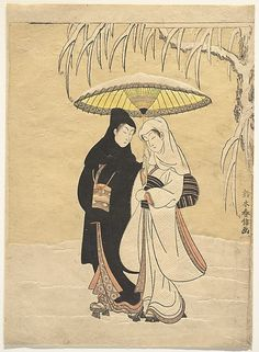Lovers Walking in the Snow (Crow and Heron) by Suzuki Harunobu – Period: Edo period – Date: – Culture: Japan – Medium: Polychrome woodblock print; ink and color on paper, with embossing (karazuri) Geisha, Era Edo, Edo Period, Japanese Couple, Art Occidental, Art Chinois, Art Asiatique, Japanese Painting, Art Moderne