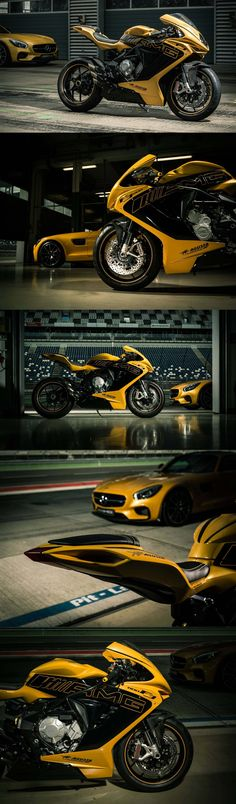"MV Agusta F3 800 ""Solar Beam"" Edition with Mercedes-AMG GT. The yellow paint job makes me so happy."