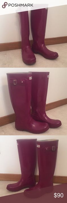 Hunter Glossy  Rain Boots Great condition hunter rain boots in orchid purple! It's like a fuchsia color and so so gorgeous. I've only worn them a handful of times. Unfortunately I do not have the box to go with them. There are a couple very minor scratches that I can barely see! Will post pics of that. Have the hunter bloom. Let me know if you have questions! Will be making available by next week. Hunter Shoes Winter & Rain Boots