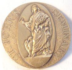Saint Johns Seminary Golden Jubilee Bronze Medal 1989 Religous Medal Collectable