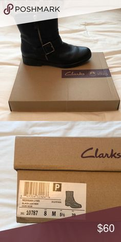fa3f5b0b1d40 Ladies Clark boots Black leather boots. Brand new. Only worn once still in  original