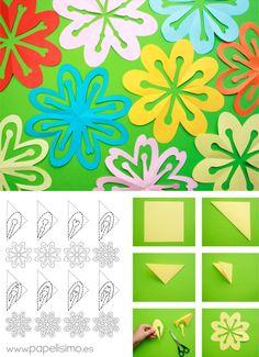 BCVC Shortener - Simply fold and cut paper flowers (kirigami) - Origami And Kirigami, Diy Origami, Origami Paper, Diy Paper, Paper Art, Paper Crafts, Origami Templates, Box Templates, Paper Flowers Craft