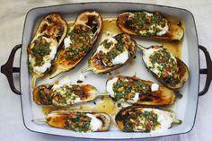 Roasted Eggplant with Cilantro-Almond Salsa by CarolineWright
