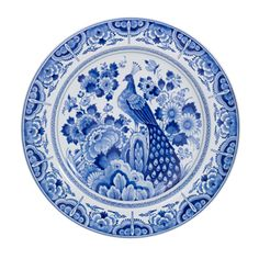 JP: Round Plate - Delft Blue, Peacock