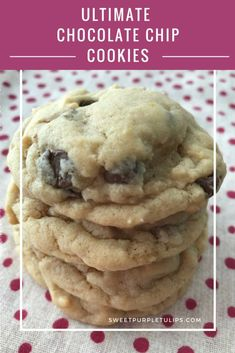 These are the ultimate chocolate chip cookies. They are soft and chewy with just the right amount of chocolate. Easy to make and turn out perfect every time! #cookies #chocolatechipcookies #dessert