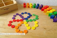 Mandala aus lauter farbigen Kreisen in den 6 Farben des Regenbogens, gelegt mit Spielgabe 7 nach Fröbel