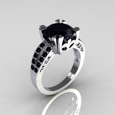 Modern Vintage 10K White Gold 30 Carat Black Diamond by artmasters, $899.00