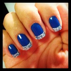 new years nail designs | new years nails #nails #blue #silver #glitter