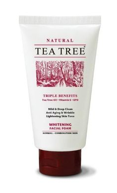 TEA Tree Mild & Deep Clean Whitening Facial Foam Anti Aging Wrinkle 70g Product of Thailand . $29.00. TEA TREE  Whitening Facial Foam  (70g)  For Normal - Combination Skin  Triple Benefits  Tea Tree Oil - Vitamin E - EPO     Product Features  Tea Tree whitening facial foam is scientifically researched formula' containing natural active ingredients to obtain maximum cleansing and skin lightening properties.      - Extra mild formula to obtain a gentle and deep clean     - N...