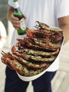 Sizzling Summer Recipes Grilled Lobster- I stuff mine with other seafood. Fish Recipes, Seafood Recipes, Cooking Recipes, Cooking Tips, Grilled Lobster, Lobster Food, Stuffed Lobster, Lobster Party, Grilled Prawns