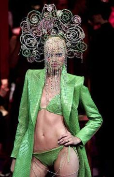 Short 'n' snappy: this green crocodile coat and bikini for Givenchy formed part of the autumn/winter 2000 Haute Couture collection.