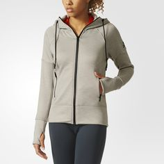 Move your indoor training outside in a flash with this women's hoodie, in cozy fleece with a soft lining. climaheat™ locks in your body's warmth so you won't have to worry about the cold hitting your skin. An adjustable hood offers versatility.