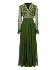 Zubair Kirmani Green and Gold Anarkali Suit simple