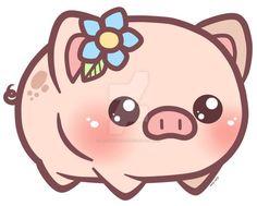 Little Piggy_Charm Design by pinkplaidrobot on DeviantArt Pet Pigs, Baby Pigs, Cute Kawaii Drawings, Cute Animal Drawings, Cartoon Wallpaper, Cartoon Pics, Cute Cartoon, Kawaii Pig, Miniature Pigs