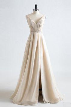 Simple champagne chiffon prom dress, V-neck prom dress with slit