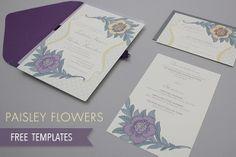 Free paisley flowers wedding invitation printable #diywedding #diyinvitation #downloadandprint