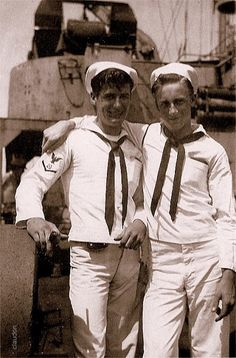 """gallimauphry: """" Photograph of two sailors onboard ship, ca Collection David Claudon, """" Vintage Couples, Vintage Men, Vintage Photographs, Vintage Photos, Vintage Sailor, Navy Sailor, Navy Man, Men In Uniform, Military Men"""