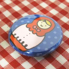 Little Russian Doll Badge Red Style by sugarcookie on Etsy #etsy #nesting doll #button #badge #pin