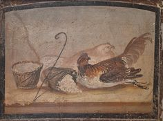 Two chickens with tied legs and baskets of soft cheese, fresco from Pompeii, Naples National Archaeological Museum   da Following Hadrian