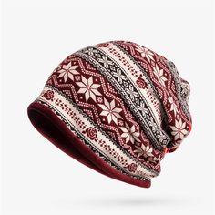 Women Plus Velvet Snowflake Print Multi-purpose Beanie Hats Scraf Outdoor  Warm Cap Collar f39a33b8edae