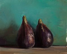"Julian Merrow-Smith: ""Two Figs,"" oil on board, 18cm x 14cm"