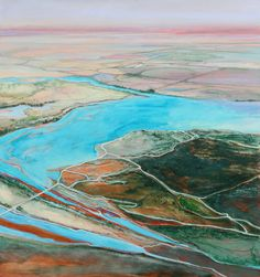 Combining my favorite things, vibrant color, maps, creation, and possibility -- a landscape painting by Philip Govedare