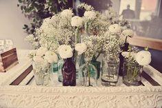 Flores blancas en el día de la boda