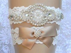 Strech Wedding Garter Set Lace Flower Bridal Garter Pearl and Rhinestone Garter and Toss Garter Set Wedding Accessories Novia Liguero by MaryMariniDesigns on Etsy